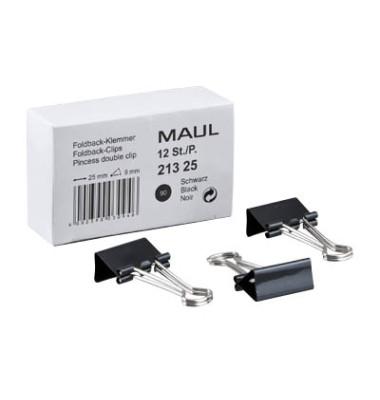 Foldbackklammern 213 25 90, 25mm, Metall schwarz, 12 Stück