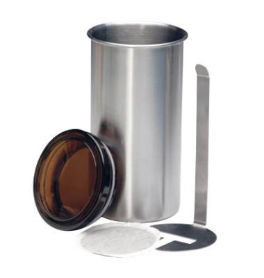 Kaffeepaddose silber mit Liftsystem ØxH 8,5x16,5cm