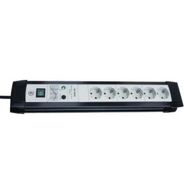 Steckdosenleiste Premium-Line Überspannungsschutz 6-fach schwarz/lichtgrau