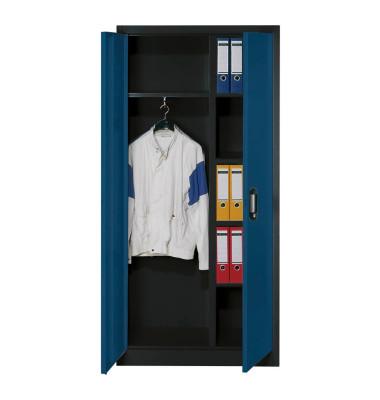 Garderobenschrank 9260-30, Metall, 1 Abteil mit 1 Fach, abschließbar, 93x195cm (BxH), blau