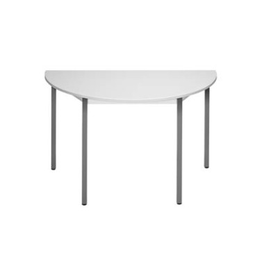 Schreibtisch 120DRGG grau halbrund 120x60 cm (BxT)