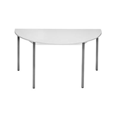 Schreibtisch 140DRGG grau halbrund 140x70 cm (BxT)