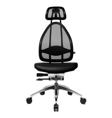 Bürodrehstuhl Open Art poliert ohne Armlehnen schwarz