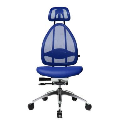 Bürodrehstuhl Open Art poliert ohne Armlehnen blau