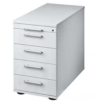 Standcontainer Solid VSC50/5 Holz lichtgrau, 4 normale Schubladen, mit extra Utensilienauszug, abschließbar