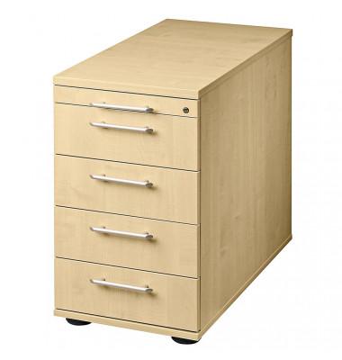 Standcontainer Solid VSC50/3 Holz ahorn, 4 normale Schubladen, mit extra Utensilienauszug, abschließbar