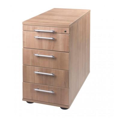 Standcontainer Solid VSC50/N Holz nussbaum, 4 normale Schubladen, mit extra Utensilienauszug, abschließbar
