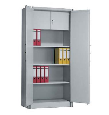 Sicherheitsschrank 1170-100, Stahl abschließbar + feuerfest, 4 OH, 93 x 195 x 50 cm, lichtgrau