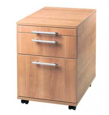 Rollcontainer Basic V1605/N Holz nussbaum, 1 normale Schublade, mit extra Hängeregisterauszug, mit extra Utensilienauszug