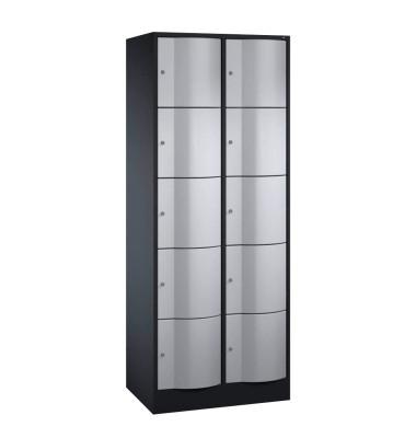 Schließfachschrank Resisto 8570-272, Metall, 2 Abteile mit 10 Fächern, abschließbar, 77x195cm (BxH), silber