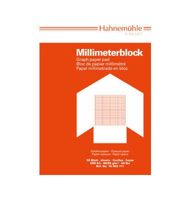 Millimeterpapier A3 rot/opak 80/85g 1mm-Teilung 50 Blatt