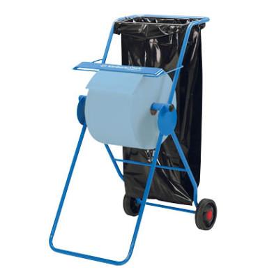 Wischtuchbodenständer 6155 fahrbar mit Abfallsackhalter Stahl blau