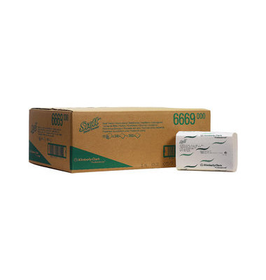Papierhandtücher 6669 Scott Xtra medium Interfold 20 x 31,5 cm Airflex weiß 1-lagig 3600 Tücher