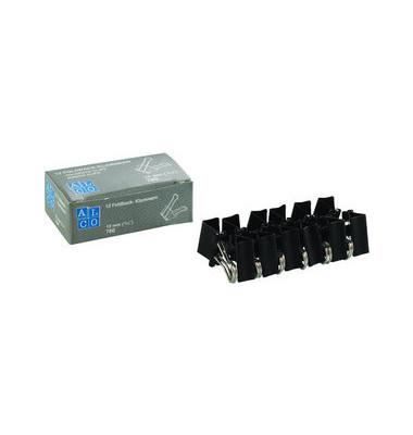 Foldbackklammern 780-11, 15mm, Metall schwarz, 12 Stück