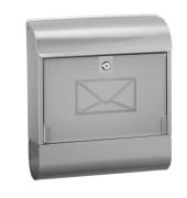 Briefkasten mit Zeitungsbox Stahl, lackiert siber, Maße:36x41x11,5 cm