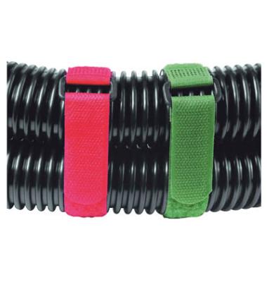 Klettkabelbinder Ny bis D60mm ro/gn/sw 20x250mm 9 St