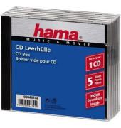 CD/DVD-Leerhülle JewelCase klar/sw f.1 CD/DVD 5 St