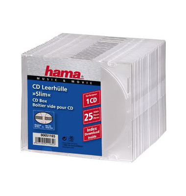 CD/DVD Slimline Jewel Cases klar 25 St