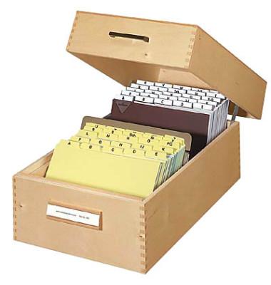 Karteikasten für A5 braun 255x380x190mm für 1500 Karten Holz