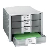Schubladenbox Impuls 1010-63 lichtgrau/transparent 4 Schubladen geschlossen