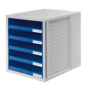 Schubladenbox Schrank-Set 1401-14 grau/blau 5 Schubladen offen