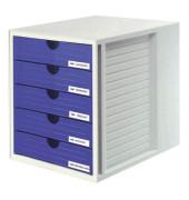 Schubladenbox System-Box grau/blau 5 Schubladen