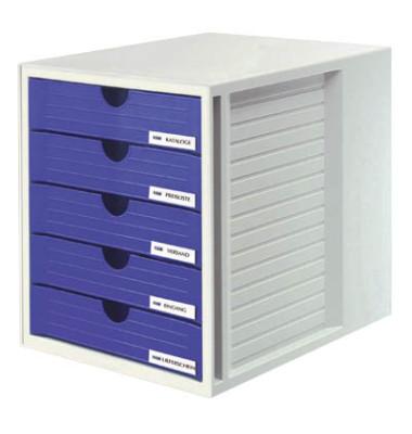 Schubladenbox System-Box grau/blau 5 Schubladen geschlossen