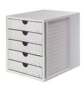 Schubladenbox System-Box 1450-11 lichtgrau/lichtgrau 5 Schubladen geschlossen