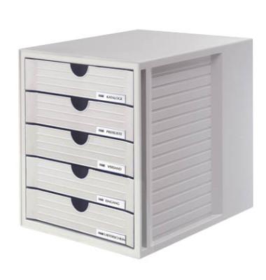 Schubladenbox System-Box lichtgrau/lichtgrau 5 Schubladen geschlossen