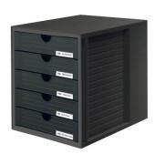 Schubladenbox System-Box schwarz/schwarz 5 Schubladen geschlossen