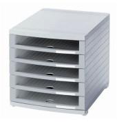 Schubladenbox Contur lichtgrau/lichtgrau 5 Schubladen