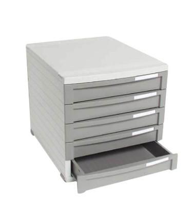 Schubladenbox Contur 1505-19 lichtgrau/dunkelgrau 5 Schubladen geschlossen