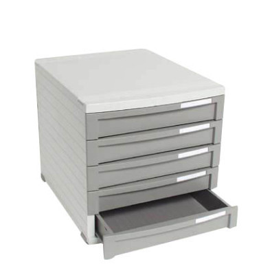 Schubladenbox Contur lichtgrau/dunkelgrau 5 Schubladen geschlossen