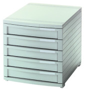 Schubladenbox Contur lichtgrau 5 Schubladen geschlossen