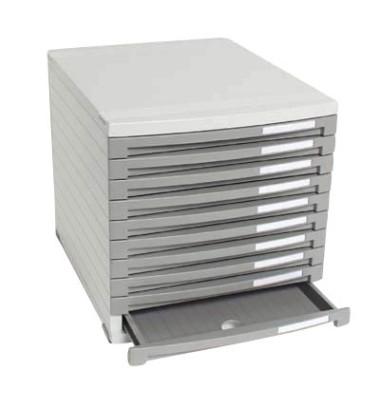 Schubladenbox Contur lichtgrau/dunkelgrau 10 Schubladen geschlossen