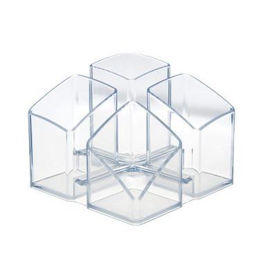 Stifteköcher Scala 4 Fächer glasklar 125x125x100