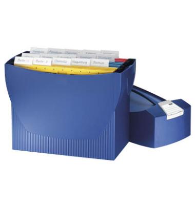 Hängemappenbox SWING mit Deckel für A4 blau 397x154x347mm Kunststoff