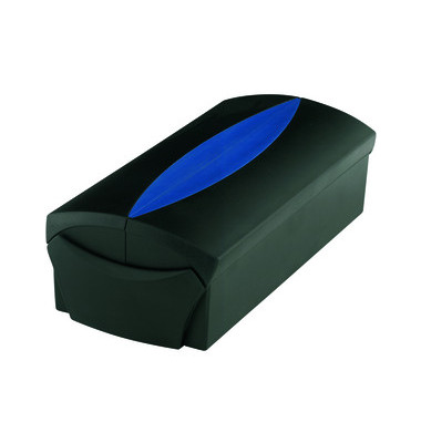 Visitenkartenbox VIP f.500 Ka. schwarz 120x255x80mm mit Reg.