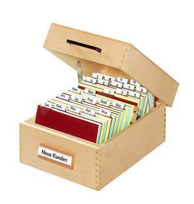 Karteikasten für A5 buche 255x250x190mm für 900 Karten Holz