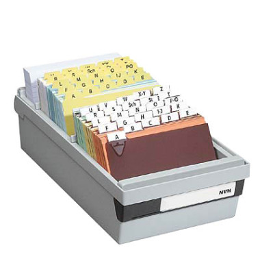 Karteikasten A6 quer für 1300 Karten lichtgrau