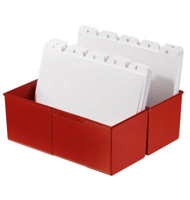 Karteikasten A5 quer für 300 Karten rot