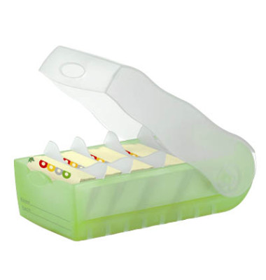 Karteibox Croco A8 quer für 500 Karten grün/transluzent PP