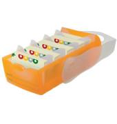 Karteibox Croco A8 quer für 500 Karten orange/transluzent