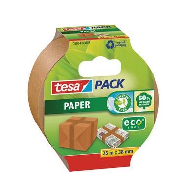 Packband Tesapack Paper 05054-07-01, 38mm x 25m, Papier, handabreißbar, braun
