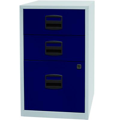 Standcontainer PFA PFA3505 Metall blau/lichtgrau, 2 normale Schubladen, mit extra Hängeregisterauszug, abschließbar