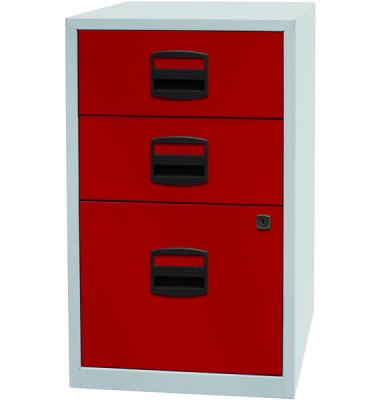 Standcontainer PFA PFA3506 Metall rot/lichtgrau, 2 normale Schubladen, mit extra Hängeregisterauszug, abschließbar