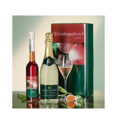 Pfirsichlikör & Chardonnay 3-teilig im Geschenk- karton