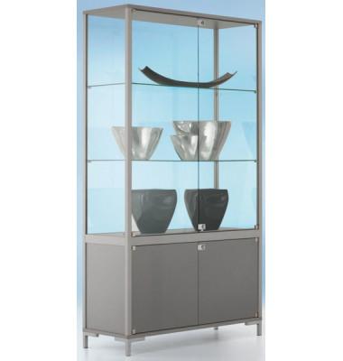 Staufachvitrine 1500 Dekor Silber mit vollverglastem Vitrinenteil