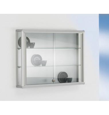 Wand / Sammlervitrine Dekor Silber mit 3-seitiger Verglasung