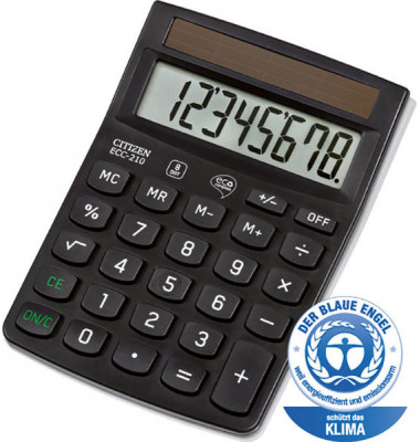 Taschenrechner ECC-210 8-stelliges Display, schwarz